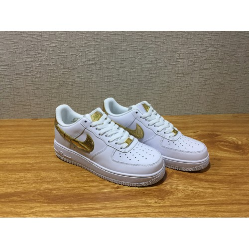 Hot Unisex Nike Air Force 1 CR7 Skate White Gold Shoe Item ...