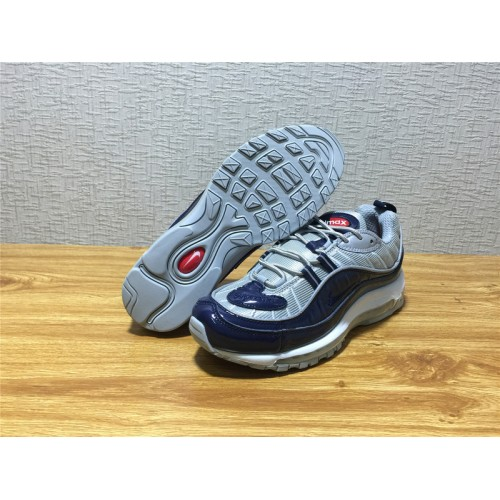 9841463c79e0 ... Men Nike Air Max 98 Supreme Running Silvery Dark Blue Shoe Item NO 844694  400 ...