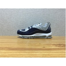 Men Nike Air Max 98 Supreme Running Silvery Dark Blue Shoe Item NO 844694 400