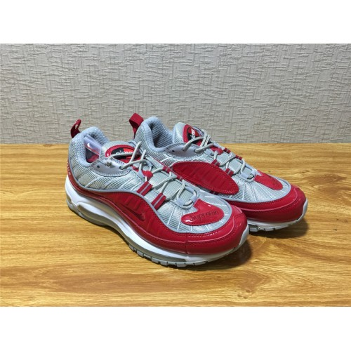 detailed look 21729 1e482 Men Nike Air Max 98 Supreme Running Silvery Red Shoe Item NO 844694 600