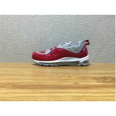 Men Nike Air Max 98 Supreme Running Silvery Red Shoe Item NO 844694 600
