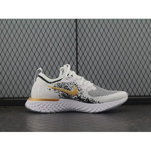 nike epic react flyknit white and gold