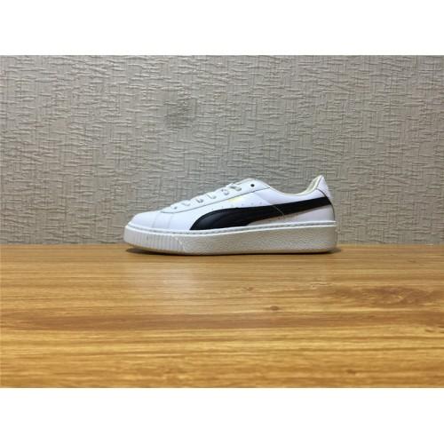 485edd99be7 Unisex Puma Basket Platform Core White Black Gold Shoe Item NO 364040 05
